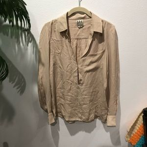 Haute Hippie Tan Silk Blouse